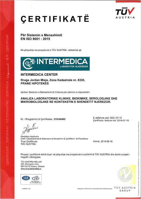 TUV Certificate  ISO 9001:2015